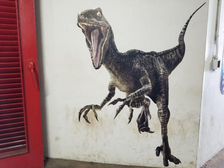 クアロアランチ。映画「ジュラシックワールド」壁画。恐竜