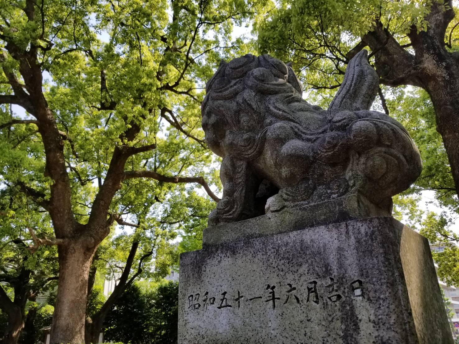 王子神社の狛犬さん、後姿