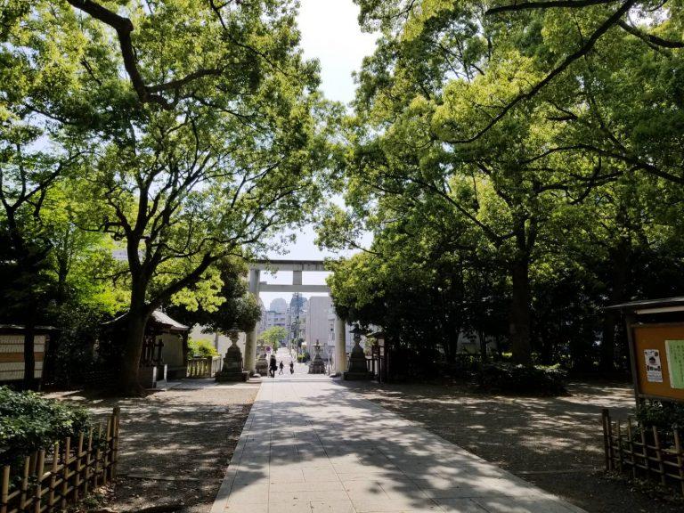 王子神社、本殿から鳥居をみる