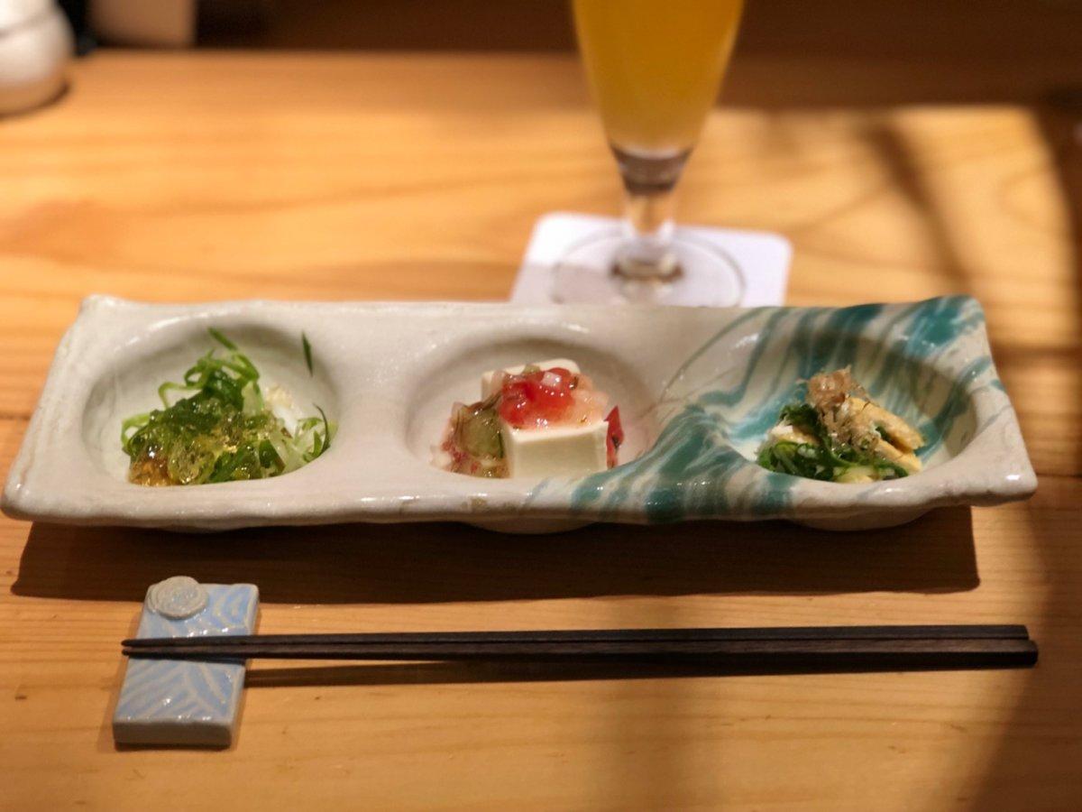 鳥恵:上野御徒町:前菜三種盛り合わせ