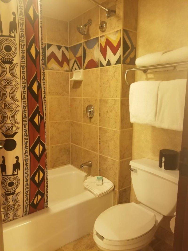 アニマルキングダム・ロッジのアフリカンテイストなバスルーム。